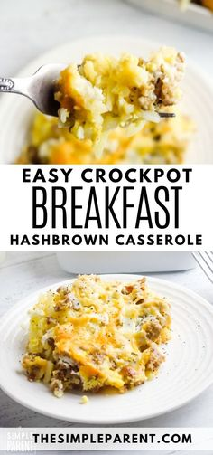 Make Ahead Crockpot Breakfast Casserole with Hashbrowns is perfect for the holidays! Use eggs, cheese, sausage, ham or bacon in this easy recipe.  Add a favorite veggie and serve with crescent rolls or with biscuits! The slow cooker makes this dump and go recipe a breeze! #Christmas #Christmasrecipes #breakfast #Christmasdinner #slowcooker #hashbrowns