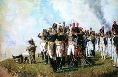 Vereshagin.Napoleon near Borodino - with varioius Marshals of the Empire with white-feathered bicorne hats.