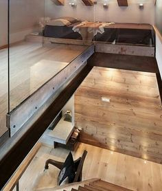 Schlafzimmer von archstudiodesign Find Scandinavian Bedroom Designs by archstudiodesign. Discover the most beautiful pictures for inspiration for the design of your dream home. Chalet Design, Loft Design, House Design, Chalet Style, Bar Design, Design Case, Design Ideas, Chalet Interior, Home Interior Design