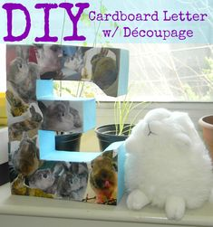 Cardboard letter with Decoupage