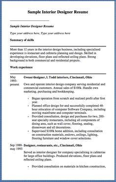 Interior Design Resume Templates Www Tamgate Com
