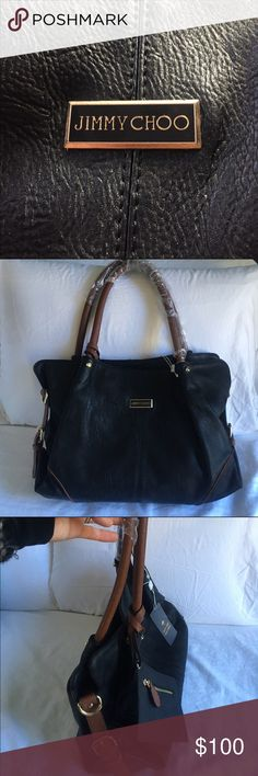 """Brand New Jimmy Choo Bag, Black & Cognac Beautiful, brand new Jimmy Choo """"replica"""" bag in black with cognac details. Features double handles (7.5 strap drop), snap closure, zipper pouch, 2 slip pockets, metal feet, gold metal hardware and very roomy interior. I got this as a gift, but I'm letting this one go since I have way too many black bags already. Comes with a coin purse and has many small pockets and compartments to store makeup, cell phone, business card, etc. Perfect for the girl…"""
