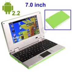 "GREEN NETBOOK Laptop 7"" Netbook Computer WiFi Built-in Camera 4gb HD 256mb Ram Google Android 2.2 Market (INCLUDES: Velvet Pouch Case, Charger, Mini Optical Mouse)    Product sku: 114Availability: 1Price: $179.99 $119.99"