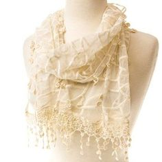 The ivory white of this Lace Vine Scarf will accent any color or style with a delicate flair. Find it at Cracker Barrel Old Country Store.