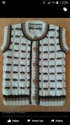 This Pin was discovered by Şaz Baby Knitting Patterns, Knitting For Kids, Knitting Stitches, Knitting Designs, Baby Patterns, Hand Knitting, Crochet Baby Booties, Baby Cardigan, Baby Sweaters