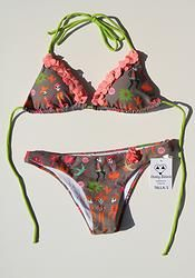 CALAVERA - Festive Skeleton Bikini. Colombian string bikini that ties at the neck and back. Top is padded (removable). Low rise bottom. Flowers.
