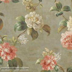 Papel Pintado Paris RS71004 con fondo verdoso con sombras y estampado floral de rosas en tonos de blancos y rosados.