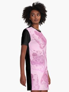 Tiny Sweet Mice on a Tiny Cheesy Pillow Graphic T-Shirt Dresses by We~Ivy #Mini #Skirts #fashion #mice #mouse #pink #lila #rosa #magenta #girly #short #weivy