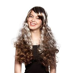 Long Multicolor Curly Hair Capless High Quality Synthetic Party Wig