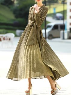 Buy it now. Gold V Neck Pleated A-Line Dress. Gold V neck Long Sleeve Polyester A Line Maxi/Long Plain Fabric has some stretch Fall Casual Day Dresses. , vestidoinformal, casual, camiseta, playeros, informales, túnica, estilocamiseta, camisola, vestidodealgodón, vestidosdealgodón, verano, informal, playa, playero, capa, capas, vestidobabydoll, camisole, túnica, shift, pleat, pleated, drape, t-shape, daisy, foldedshoulder, summer, loosefit, tunictop, swing, day, offtheshoulder, smock, prin...