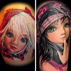 .@cooltattoos | Artist: Randy Engelhard @randyengelhard (Tattoos on two different people, whe... | Webstagram - the best Instagram viewer