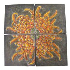 Firefly 4 Panel Metal Flower Wall Art - 34353