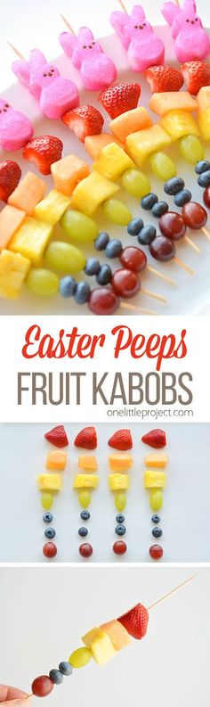 These rainbow Easter Peeps fruit kabobs are SO PRETTY! And they're so simple to make. Such a fun and healthy idea for a Easter snack and a great alternative to candy!
