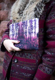 Folkloric Forest Print Clutch Bag by Rachel Edmond - available on ASOS Marketplace, Etsy & www.racheledmond.com
