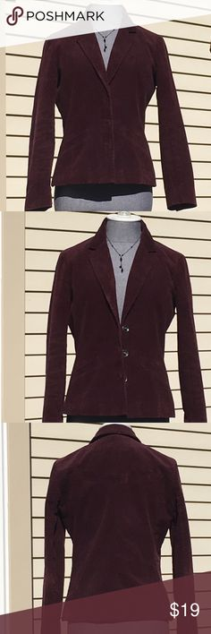 Liz Claiborne Rich Plumb Corduroy Blazer Sz-4P Liz Claiborne Rich Plumb Corduroy Blazer Sz-4P. Two Front Slit Pockets. Beautiful 4 Snap Closure W/2 Snap Closure at Cuffs Beautifully Made, Excellent Condition! Liz Claiborne Jackets & Coats Blazers