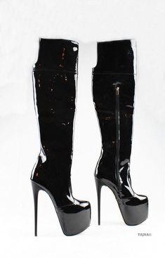 e13d526ec95 Black Patent Platform Knee High Boots – Tajna Club  Highheels