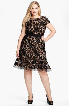 Main Image - Tadashi Shoji Lace Overlay Dress (Plus Size) Curvy Girl Fashion, Plus Size Fashion, Plus Size Dresses, Plus Size Outfits, Pretty Dresses, Beautiful Dresses, Gorgeous Dress, Modelos Plus Size, Mode Plus