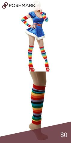 """Arm/Leg Warmers+Hair Pieces ONLY! Pair of used stockings & pair of arm sleeves + 2 new clip in synthetic hair extensions. The longest strands approx 13"""". The leg warmers go over the knee if you have skinny legs. If you have thick legs they go up to the knee & can be worn over the feet as well or scrunched. Great for Rainbow Bright, hippie, Lady Rainicorn, My Little Pony or any unicorn Halloween Costume, raves, gay pride, festivals, parties, etc.. 4th picture for inspiration. Thigh highs, arm…"""