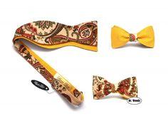 Žluto smetanovou hnědý vázací motýlek s ornamentem 2v1 - Dr. Woody - doplňky pro gentlemany