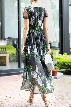 Voile Spliced Round Neck Print Maxi Dress