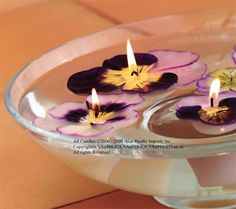 Pansy floating candles Floating Candles, Pansies, Candlesticks, Corner, Party Ideas, Decorating, Flowers, Products, Candle Holders