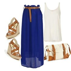A fashion look from May 2013 featuring white singlet, long blue maxi skirt and high heel wedge sandals. Browse and shop related looks. Alternative Mode, Alternative Fashion, Cute Summer Outfits, Cute Outfits, Summer Wear, Casual Summer, Summer Clothes, Summer Time, Long Blue Skirts