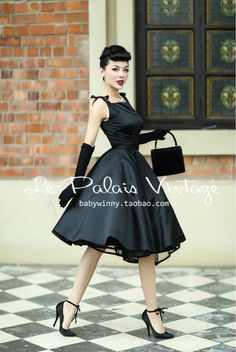 Le Palais Vintage Elegant Retro Classic Hepburn Silk Puff Dress