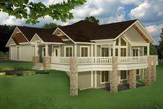 Bungalow Contemporary Craftsman Traditional House Plan 85235 Elevation - House Plans, Home Plan Designs, Floor Plans and Blueprints 4 Bedroom House Plans, Basement House Plans, Lake House Plans, Mountain House Plans, Bungalow House Plans, Craftsman House Plans, Dream House Plans, House Floor Plans, Walkout Basement