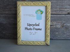 Yellow Shabby Chic Upcycled Photo Frame | Schocking Creations on Etsy #schockingcreations #upcycledphotoframe #etsy