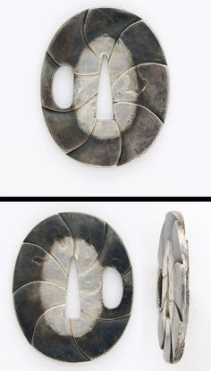 Late Muromachi Tanto tsuba Lotus leaf? engraved on silver plate.