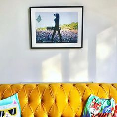 """For Arts Sake on Instagram: """"The glorious sun-filled living room of our framing client @gemmapeplow ☀️ A little bit of vintage Glastonbury magic for those chillier…"""""""