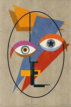 Abstract Face Art, Abstract Geometric Art, Kandinsky Art, Cubist Art, David Bowie Art, Bauhaus Art, Fat Art, Modern Art, Art Drawings