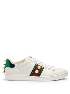 Click here to buy Gucci New Ace stud-embellished leather trainers at MATCHESFASHION.COM