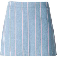 T By Alexander Wang striped denim skirt (€100) ❤ liked on Polyvore featuring skirts, bottoms, blue, short blue skirt, short skirts, t by alexander wang, striped short skirt and a-line skirts