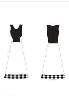 #4 - vestido parte superior preto com recorte branco e parte inferior branco com recorte xadrez na barra