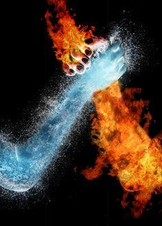 water fire hands