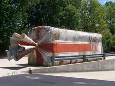 Supposedly the world's largest loaf of bread (not actually edible, of course). Located in Urbana, Ohio. Took a little father-son searching to find this bad boy. I humbly proclaim myself as the one who finally spotted it.