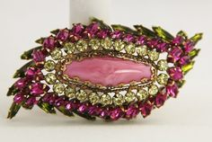 VINTAGE Jewelry SIGNED SCHREINER PINK & GREEN HUGE LAYERED RHINESTONE BROOCH