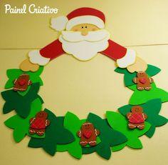 Como fazer enfeite natal guirlanda papai Noel decoração casa sala de aula escola EVA