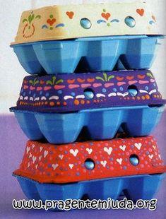 Reciclagem e Sucata: Como pintar caixa de ovos para páscoa