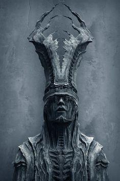 """Mysterious Sculpture 2 B"" by Tomasz Strzalkowski Arte Horror, Horror Art, Dark Fantasy Art, Dark Art, Arte Obscura, Creepy Art, Character Design Inspiration, Creature Design, Skull Art"