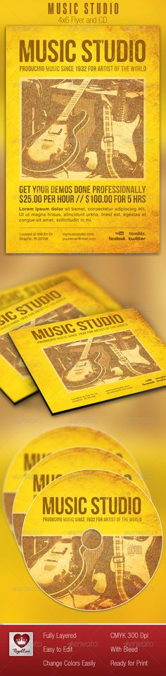 This Music Studio Flyer and CD Template is customized for Audio Engineers, Recording Artists, or Music Business that needs a creative Retro look. It can be used for advertisements, promotional pieces, and anything that needs professional marketing package. The