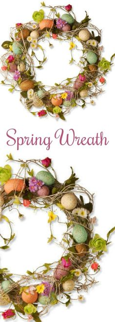 Such a colorful, cheerful SPRING WREATH! Love the colors and whimsical style.  #spring #springstyle #wreath #frontdoor #frontporch #forthehome #homedecor #affiliate