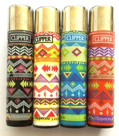 4 x GENUINE CLIPPER LIGHTERS  ZIG ZAG HIPPIE PRINT COLOURFUL DESIGN GAS LIGHTER