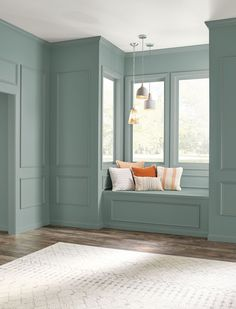"""Is it gray? Blue? Green? It's all of them wrapped up in your new color obsession, and it's going to have you running to Home Depot for a can (or 10!) in 3…2…1. Behr's first-ever Color of the Year, dubbed """"In the Moment,"""" isn't just a great option for refreshing your interior or exterior, it's also an invitation to bring a little calm to your place."""