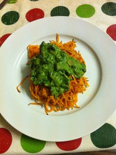 Paleo Creamy Avocado Spinach Sauce with Bacon and Mushroom on Sweet Potato Noodles Pasta Spaghetti