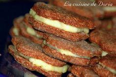 Chocolate and coconut cream sandwiches - Sablés au chocolat et à la crème de coco - La cuisine de Doria