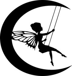 Die Cut Silhouette Moon Fairy on Swing Topper X 6 for Cardmaking Crafts for sale online Fairy Silhouette, Silhouette Images, Star Silhouette, Vintage Silhouette, Kirigami, Silhouettes, Fairy Templates, Fairy Lanterns, Moon Fairy