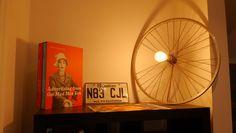 Bike weel transformed into a lamp