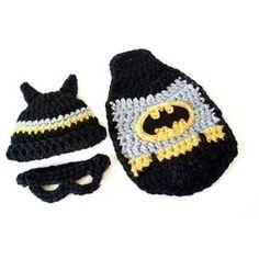 Newborn Baby Boy Girl Crochet Batman Hat Mask Cape Set Super ...